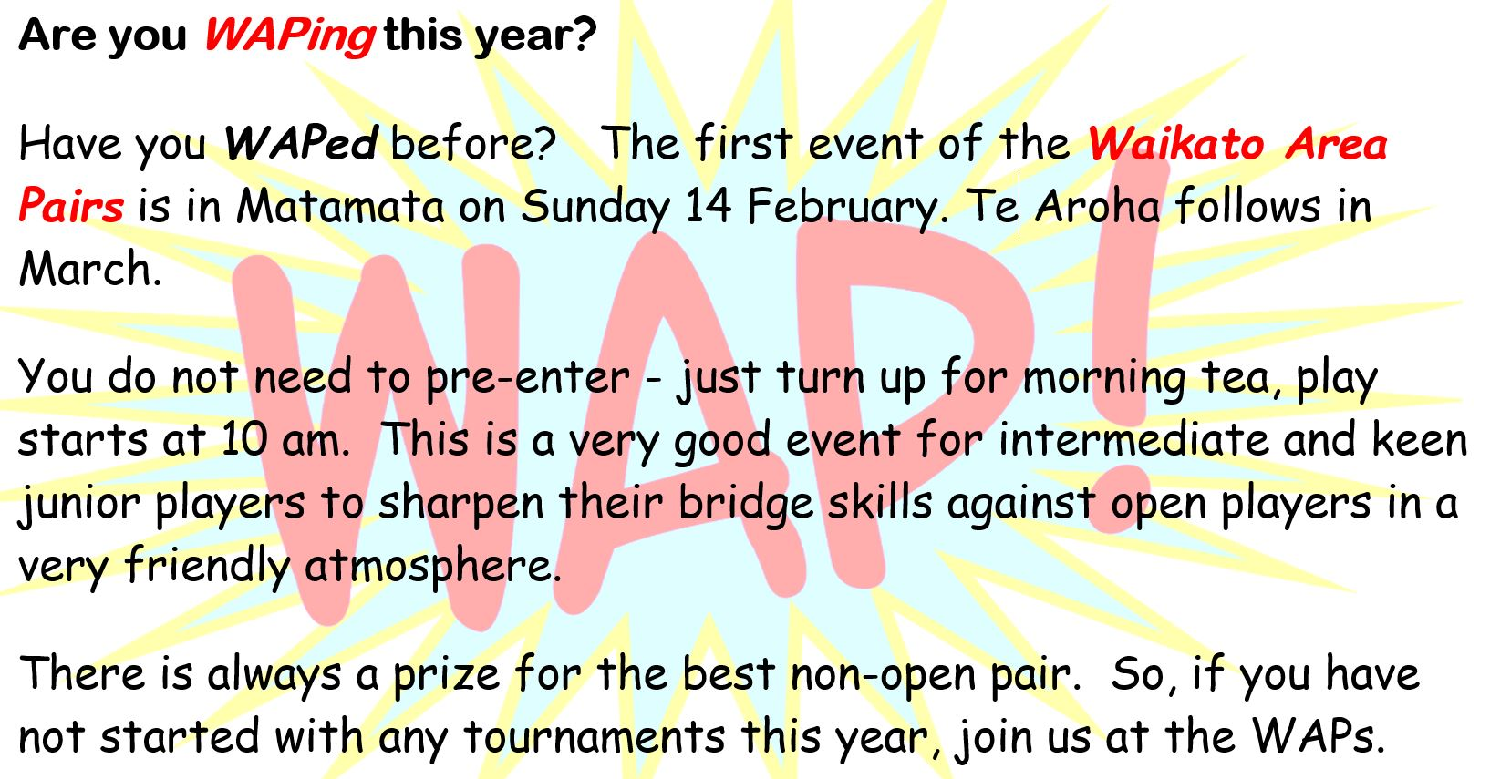 Promo for the 2021 Waikato Area Pairs